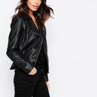 J.D.Y Matt Leather Look Biker Jacket at asos.com