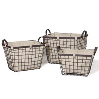 Adeco Rectangular Urban Style Baskets with Wide Rim and Snap Detail on Liner Home Decor, Set or 3
