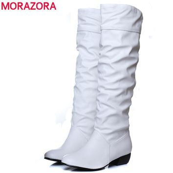 MORAZORA Large size 2018 new arrive Knee high Women Boots Black White Brown flat heels