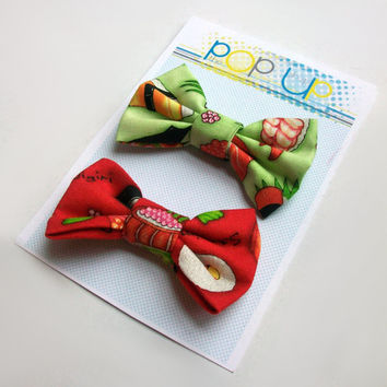 Sushi Hair Bows / Japanese Hairbows / Cute Asian Inspired Bow Clips Set
