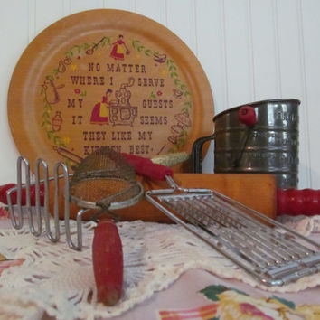 Vintage Utensils Red Wood Handles with Kitchen Sign Instant Collection