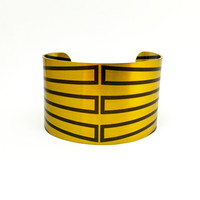 Arts and Crafts Jewellery, Brass Cuff Bracelet, Abstract Art Jewellery, Modern Art Jewellery, Wearable Art, Graphic Pattern Bracelet