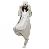 Unisex Adults Gray Seal Cartoon Costume Pajama Halloween Christmas Onesuits Unisex Teenagers Famous Brand Cartoon Lounge Wear