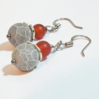 Surgical Steel Gray Dragons Vein Agate & Carnelian Earring Dangles
