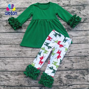 Christmas Gift Baby Outfits Long Sleeve Top Match Cotton Pants Set Kids Clothes 2017 Cute Girl clothing