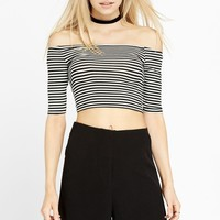 Peek of Skin Off The Shoulder Crop Top