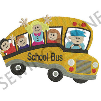 EMBROIDERY Design School Bus Kids 4x4 5x7 6x10 Instant Download