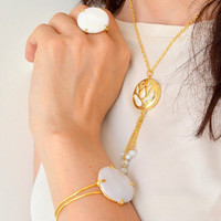 FLIGREE BRIDAL NECKLACE, gemstone necklace, rose necklace, mother of pearl necklace, gold plated necklace, tassle necklace, fligree brass ne