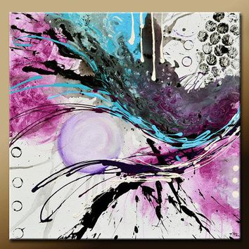 Abstract Canvas Art Contemporary Painting by Destiny Womack - dWo - 24x24 Beauty & Chaos