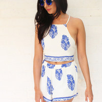Tapestry Print Tie Back Crop Top & Shorts Co-ord Set in Blue & Cream