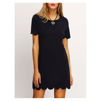 Black Short Sleeve Scallops Shift Dress
