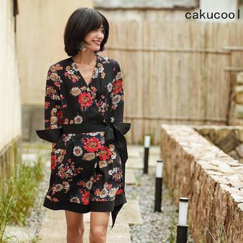 Cakucool New Sexy Kimono V-neck red floral print elegant jumpsuit romper Summer Long Sleeve beach short playsuit Women overalls
