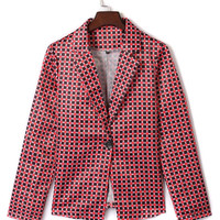 Red Lapel Gingham Print Long Sleeve Blazer