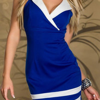 Blue and White Color Block  V-Neckline Sleeveless Mini Dress
