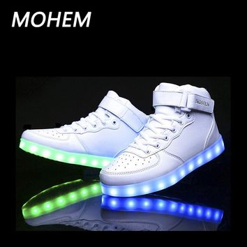 7 colors light shoes for kids led luminous shoes for boys girls fashion light up casual children sneaker 2017 new style 25-40