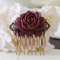 Large Deep Red Burgundy Rose Flower Hair Comb. Vintage Inspired Antique Brass Art Nouveau Filigree Hair Comb. Wedding Comb. Maid of Honor
