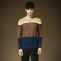Smart Men Henley Knit Sweater