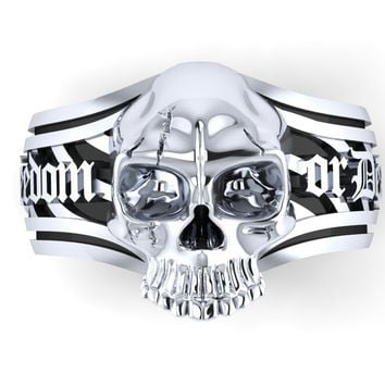Men's Skull Ring Freedom or Death