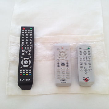 Tv remote holder, tv remote caddy, tv remote organizer, shabby chic, white linen, remote control, bed caddy, bed organizer, bed pocket