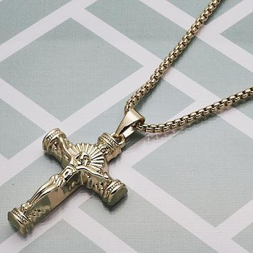 Gold Layered Men Crucifix Fancy Necklace, by Folks Jewelry