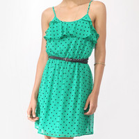 Flounced Polka Dot Dress w/ Belt