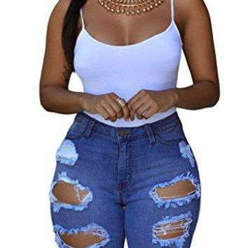 Dokotoo Womens Casual Denim Destroyed Bermuda Shorts Jeans XX-Large Denim