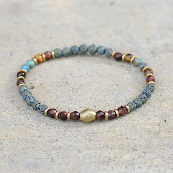 Tigers eye and Agate Delicate Aromatherapy Bracelet