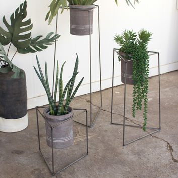 Set of 3 Nesting Iron Triangle Planters with Grey Wash Clay Pots