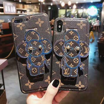 Louis Vuitton LV Fashion New Monogram Print Leather Couple Phone Case Protective Case
