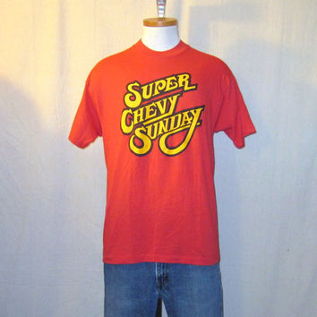 Vintage 80s SUPER CHEVY SUNDAY Cars Auto Chevrolet Graphic Deadstock Red Medium Large 50/50 T-Shirt