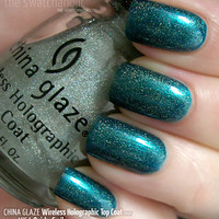 NYE Layering NOTD: China Glaze Wireless Holographic Top Coat over Misa Quirky Smile   The Swatchaholic . a blog about nail polish and makeup