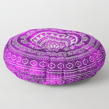 'Purple Destiny' Purple & White Flower Of Life Boho Mandala Design Floor Pillow by inspiredimages