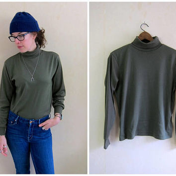 Olive Green Shirt 80s Turtleneck Top Soft Knit Shirt Cotton Blend Thermal Shirt Thin Minimal Basic Long Sleeve Shirt Womens Small Medium