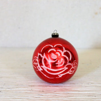 vintage rose glass ball ornament // mid century made in japan // red with white rose flower