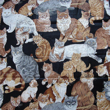 Cat Fabric Sewing Cats and Kittens Large Print Quilt Fabric