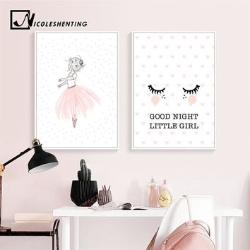NICOLESHENTING Baby Nursery Wall Art Canvas Painting Pink Cartoon Girl Poster Print Nordic Kids Decoration Picture Bedroom Decor
