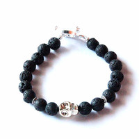 Men's Beaded Toggle Clasp Bracelet with Gold Acrylic Resin Skull - Round Lava Beads