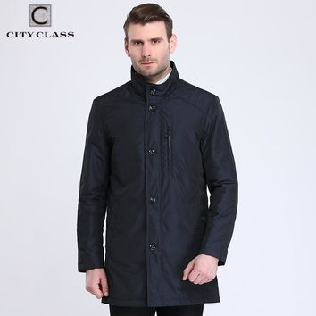 Fashion Trench Coats Long Jackets Cotton-padded Warm Business Overcoat Stand Collar