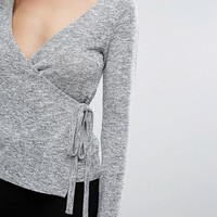 New Look Ballet Wrap Long Sleeved Top at asos.com