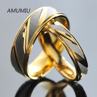 AMUMIU Stainless Steel Couples Rings for Men Women Gold Wedding Bands Engagement Anniversary Lovers his and hers promise KR005