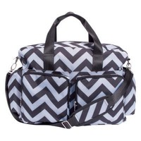 Black and Gray Chevron Deluxe Duffle Diaper Bag
