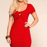 Lydia Red Tie-Front Mini Dress