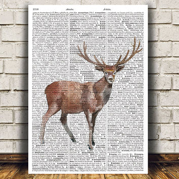 Wildlife decor Deer poster Animal print Dictionary print RTA1516
