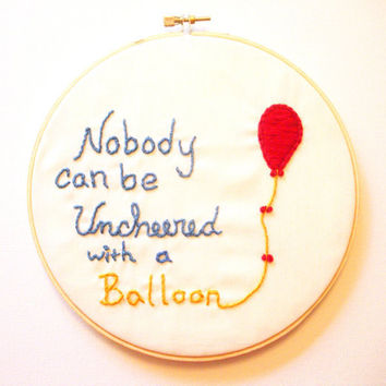Embroidery Art Nursery WinniethePooh Balloon by KingSoleil on Etsy