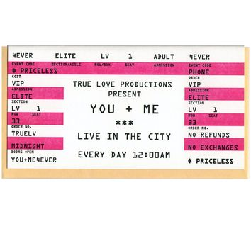 True Love Productions Present You + Me Ticket Stub Card
