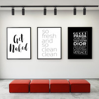 3 DIGITAL Prints,Printable art,Gucci Fashion print,Get Naked bathroom poster,bathroom decor,bathroom print,prints and quotes,fashion decor