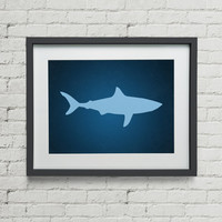 Ocean Nautical Shark Silhouette Nursery Babies Room Office Decor  Art Print 8x10 Inches Buy 2 Get 1