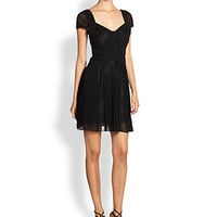 BCBGMAXAZRIA - Aris Lace & Pleated-Panel Chiffon Dress