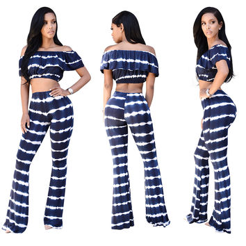 Stripped Slash Shoulder Crop Top and High Waist Pants