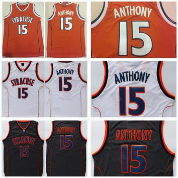 2017 College 15 Camerlo Anthony Jersey Men Syracuse Orange Camerlo Anthony Basketball Jerseys Sports All Stitched White Black High Quality
